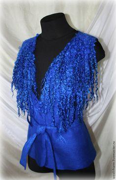Купить Жилет валяный Васильковые сны - синий, жилет, валяный жилет, васильковый, ультрамариновый