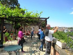 Touring the back gardens and terrace of Sant'Alessio