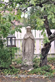 Love the lantern next to this statue of the Blessed Mother.