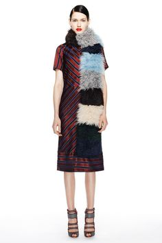 J. Crew F/W 2014, fur scarf, maroon striped silk dress, red lips