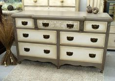 SOLD ~ Sideboard hand painted in @AnnieSloanHome French Linen and Old White #morethanpaint #chalkpaint