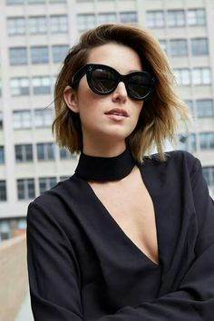 Black collar and Sunglasses 2016 Short Hair Trends, Long Hair Cut Short,  Chic Short 4a603a10cdcc