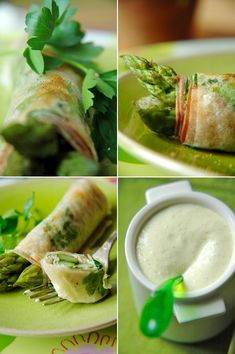 Crispy green asparagus, Parmesan muslin sauce - B as Good - vegetarian Green Asparagus, Parmesan Asparagus, Vegetarian Spring Rolls, Vegetarian Recipes, Sauce Mousseline, Food In French, Salty Foods, Vegan Appetizers, Light Recipes