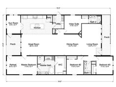 Palm Harbor Homes floor plans for a 2721 Sq Ft House in Plant City, Florida. View Casita III plans for your manufactured, modular or mobile home. Floor Plan 4 Bedroom, 4 Bedroom House Plans, Barn House Plans, House Plans One Story, New House Plans, Dream House Plans, House Floor Plans, Metal Homes Floor Plans, Modular Home Floor Plans