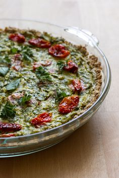 Roasted tomato, kale + herb tofu quiche with oatmeal almond crust