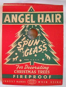 vintage box of christmas angel hair spun glass