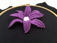 Tina's handicraft : how to embroider flower leaves with organza and beads