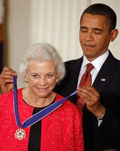 President Barack Obama presents the Medal of Freedom, the highest civilian honor in the United States, to retired Supreme Court Justice Sandra Day O'Connor during a ceremony in the East Room of the White House on Aug. in Washington, D. Lady Justice, Chief Justice, Us Supreme Court, Supreme Court Justices, John Paul Stevens, Janet Napolitano, Sandra Day O'connor, Women Lawyer, President Ronald Reagan