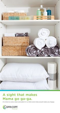 Great closets and organized spaces, a great gift for mom