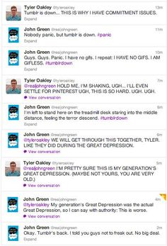 John Green and Tyler Oakley make me laugh Funny Tumblr Posts, My Tumblr, Youtubers, We Are Bears, Hank Green, John Green Funny, John Green Books, Funny Memes, Hilarious