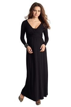 8c9e4a972709 Ava Long Sleeve Wrap Maternity  amp  Nursing Maxi Dress (Black)-stunning and