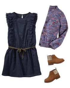Keep her classic in flutter-sleeve navy & a colorful cardi for class. Fun boots add a hint of sparkle, too!
