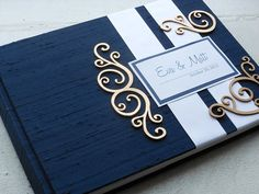 Navy Wedding Guest Book with Swirl Embellishments (made to order) Navy Blue And Gold Wedding, Navy Gold, Black Gold, Wedding Stationary, Wedding Invitations, Wedding Favors, Diy Wedding, Wedding Ideas, Spring Wedding