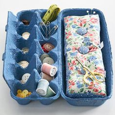 Sew Cool - Make a pretty sorting organizer from an egg carton. Dress it up with a quick coat of spray paint and fill it with all those little things that come out of the dryer, such as coins and buttons. Add a made-to-fit pincushion, a needle, and small spools of thread, and you have an instant mending kit.