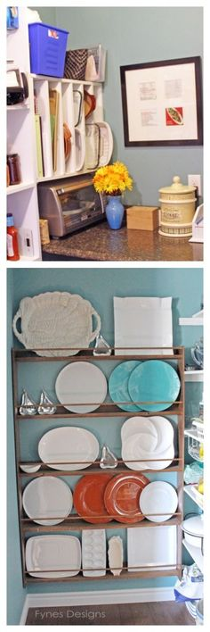 Plate rack made from strapping and dowels. Cheap and easy