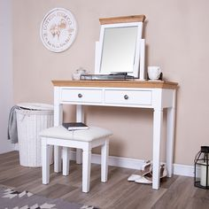 Our new Dover White Painted Dressing Table is elegance personified, and exactly what you need to transform you favourite corner of the bedroom. Dover White, White Bedroom, Pure White, White Paints, Painting Frames, Office Desk, Bedroom Furniture, Table Dressing, Vanity