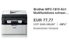 """Ebay: 4-in-1-Drucker Brother MFC-1810 für 77,77 Euro frei Haus https://www.discountfan.de/artikel/technik_und_haushalt/brother-mfc-1810-fuer-77-77-euro.php Mit dem Brother MFC-1810 ist bei Ebay als """"Wow! des Tages"""" ein 4in1-Multifunktions-Laserdrucker zum Schnäppchenpreis von 77,77 Euro mit Versand zu haben. Das energiesparende Modell kann auch als Scanner, Kopierer und Fax verwendet werden. Ebay: 4-in-1-Drucker Brother MFC-1810 für 7... #Drucker, #Laserdruc"""