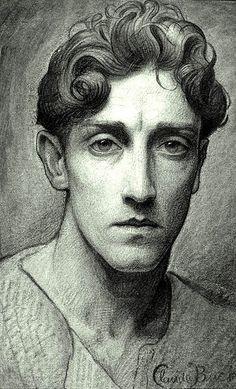 Self-portrait by American artist Claude Buck, 1917. Charcoal and crayon on paper, mounted on paperboard.