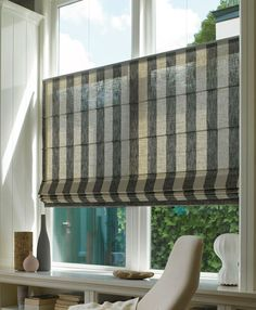 Luxaflex® Window Styling offer a wide range of attractive window coverings with an extensive choice of materials, colours, designs, finishes and control options. Window Coverings, Window Treatments, Striped Roller Blinds, Roman Blinds Design, Indoor Blinds, Shutter Decor, Custom Roman Shades, Big Bathrooms, Window Dressings