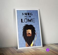 """Bilder - A4 Kinder-Poster """"Mutig wie ein Löwe"""" - ein Designerstück von…"""