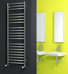 The Reina Eos Curved Stainless Steel Heated Towel Rail. Reinas collection of tow. The Reina Eos Curved Stainless Steel Heated Towel Rail. Reinas collection of towel rails will enhan Stainless Steel Radiators, Stainless Steel Railing, Eos, Tall Cabinet Storage, Locker Storage, Electric Towel Rail, Bathroom Radiators, Towel Radiator, Shower Wall Panels