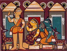 Madam Meow / Holly Gaboriault: Jamini Roy: Visions of India Madhubani Art, Madhubani Painting, Indian Folk Art, Indian Artist, Phad Painting, Worli Painting, Hippie Painting, Jamini Roy, Bengali Art