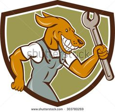 Illustration of a dog mechanic running holding spanner viewed from the side set inside shield crest on isolated background done in cartoon style. #mechanic #cartoon #illustration