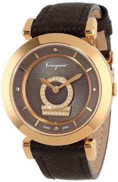 Salvatore Ferragamo Women's FQ4080013 Minuetto Gold Ion-Plated Coated Stainless Steel Brown Dial Diamond Watch... #SalvatoreFerragamo