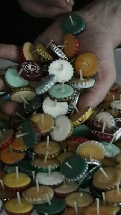 Bottle cap candles - burn 1 to 1.5 hours, great for travel or to use when you're entertaining on the deck at night