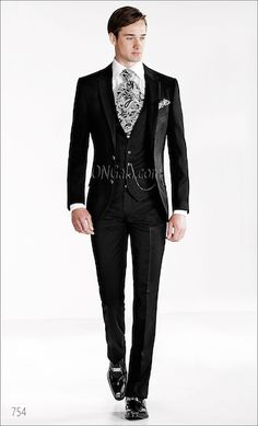 ONGala 754 - Striped Formal wedding Suits in Black