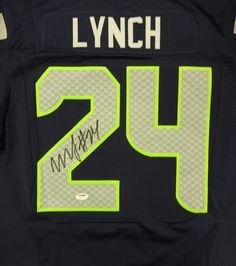 Marshawn Lynch Autographed Seattle Seahawks Blue Nike Elite Jersey Size 48 PSA/DNA