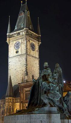 Old Town Hall, Czechia #night #city #prague #Czechia
