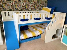 Bunk Bed for Kids Ideas - One of the main reasons why you want to have some bunk bed for kids ideas is because you want to make the room more spacious. Bunk beds are the perfect solution for your kids' bedroom who only has limited space. Toddler Bunk Beds, Bunk Beds For Boys Room, Bunk Beds With Stairs, Cool Bunk Beds, Kid Beds, Boy Room, Kids Bedroom, Toddler Beds For Boys, Bunk Beds Uk