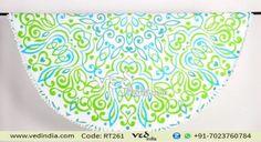 Beautiful Rangoli Design Hippie Mandala Round Tapestry Boho Bedsheets Beach Towel with Pom Poms Fringe