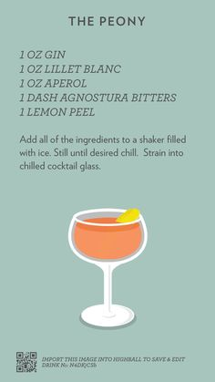 The Peony, created with Highball. Fancy Drinks, Bar Drinks, Cocktail Drinks, Yummy Drinks, Cocktail Recipes, Alcoholic Drinks, Beverages, Alcohol Drink Recipes, Classic Cocktails