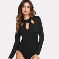 Black Cut Out Bodysuit Women Deep V Neck Party Top Summer Skinny Women Long Sleeve Bodysuit Black XL Red Bodysuit, Bodysuit Fashion, Womens Bodysuit, Turtleneck Bodysuit, Long Sleeve Turtleneck, Romwe, Pullover Shirt, Body Suit Outfits, Party Tops