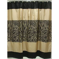 This exotic zebra shower curtain is perfect for giving the bathroom a stylish and sultry feel. With 12 shower hooks, this polyester curtain offers privacy and is durable as well as safe. The black and taupe zebra design simply looks great.