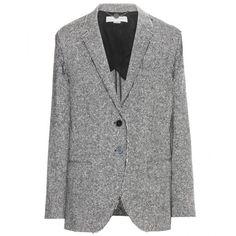 Stella McCartney Wool Tweed Blazer ($950) ❤ liked on Polyvore featuring outerwear, jackets, blazers, grey, grey tweed blazer, grey tweed jacket, gray wool blazer, gray blazer and wool jacket
