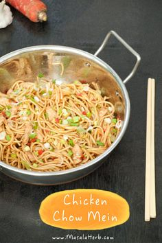 Chicken Chow Mein – Stir fried Noodles the Indo Chinese way www.masalaherb.com recipe. Indian food