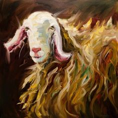 """ARTOUTWEST SHEEP LAMB ART ANIMAL BY Diane Whitehead"" - Original Fine Art for Sale - © Diane Whitehead"