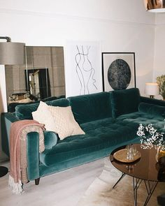You know when a mash-up of eclectic elements come together and just magically work? Monik Hs living room right here. Tap to shop the Scott sofa. Home Design, Home Interior Design, Interior Decorating, Living Room Designs, Living Room Decor, Living Spaces, Dining Room, My New Room, Home Decor Inspiration