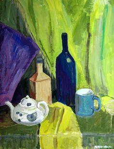 #art , #stilllife , #green , #bottle , #mug , #gouache
