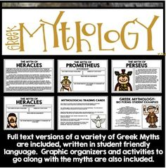 Greek Mythology Unit Interactive Notebook by Creative Classroom Core Interactive Notebooks, Graphic Organizers, Summer School, Greek Mythology, Social Studies, Poems, Language, Classroom, Teacher
