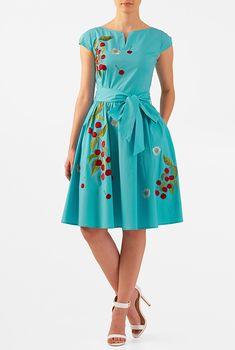 I this Floral embellished sash tie stretch poplin dress from eShakti Custom Dresses, Modest Dresses, Nice Dresses, Casual Dresses, Dress Outfits, Fashion Outfits, Women's Fashion, Poplin Dress, Vestidos Vintage
