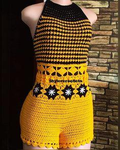 Bikini Crochet, Crochet Romper, Crochet Crop Top, Crochet Blouse, Crochet Clothes, Knit Crochet, Crochet Shorts Pattern, Bikini Pattern, Overall