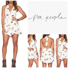 "Free People Floral Print Halter Romper.  NWT. Free People Floral Printed Halter Romper, lined, 100% rayon, machine washable, 18"" armpit to armpit (36"" all around), 30"" front length, 35"" back length, 3"" inseam, halter neck with tie closure, hidden back zip closure, swing pleats, plunge V neckline, cutout back, measurements are approx.  No PayPal...No Trades... Free People Pants Jumpsuits & Rompers"