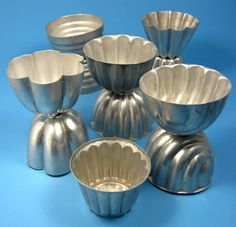 Aluminum Jelly Molds Jello Moulds England 1950s Vintage Lot Of 11