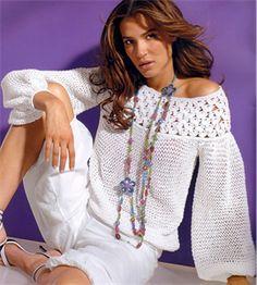 Womens Knitting Patterns Yoke Blouse Knitting Pattern