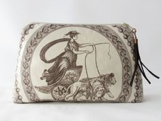 cosmetic bag Toile de Jouy medaillon antique in by HolzundLeinen