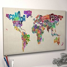 Typography World Map Art Print by ArtPause Love this for a playroom